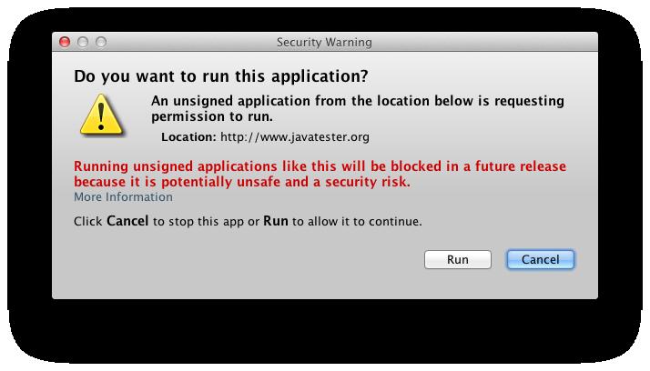 Java Security Warning Dialog